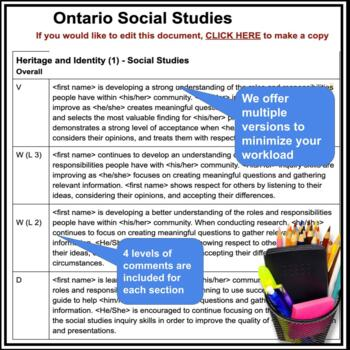 Report Card Comments - SOCIAL STUDIES - Ontario Grade 4