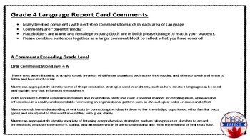 Grade 4 Language Parent Friendly Report Card Comments - All TERMS