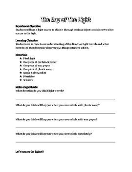 Grade 4 - Light and Shadow Full Alberta Unit Workbook
