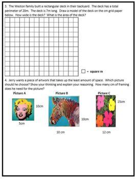 Grade 4 Linear Measurement, Area, Perimeter Assessment