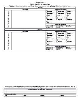 Grade 4 Louisiana CCSS ELA Lesson Plan Template