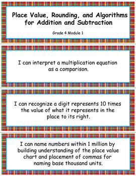 Grade 4 MODULE 1:Place Value, Rounding, and Algorithms, I CAN Statements