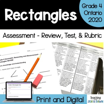 Grade 4 Math 2D and 3D Geometry Review, Test, and Rubric