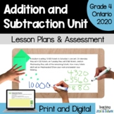 Addition and Subtraction - COMPLETE UNIT (Grade 4 Ontario