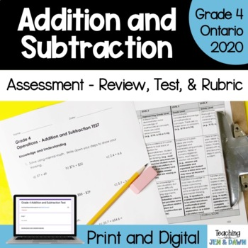 Grade 4 Math Addition and Subtraction - Review, Test, Rubric
