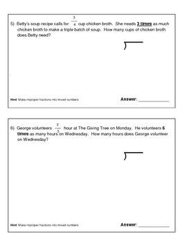 Grade 4 Math Assessment - Multiplying and Dividing Fractions