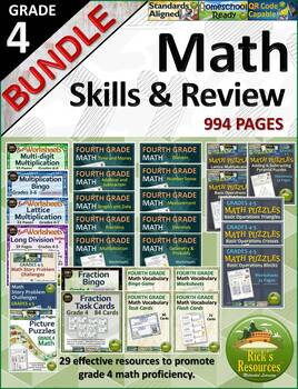 4th Grade Math Skills Practice and Review Bundle