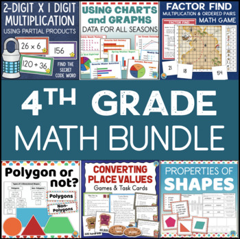 Grade 4 Math Centers, Games, and Task Cards Bundle