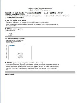 Grade 4 Math, CA Content Standards, Common Core Standards, Midyear Evaluation
