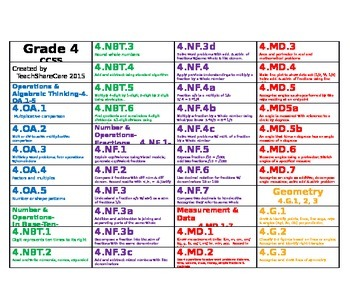 Grade 4 Math CCSS Hanging File Folder Labels