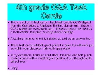 Grade 4 Math CCSS O&A Task Cards