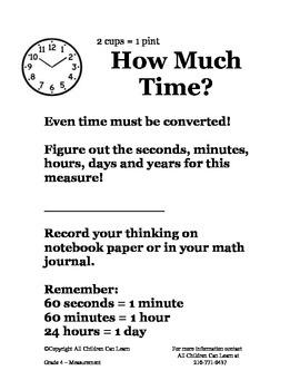 Grade 4 Math Centers - Measurement
