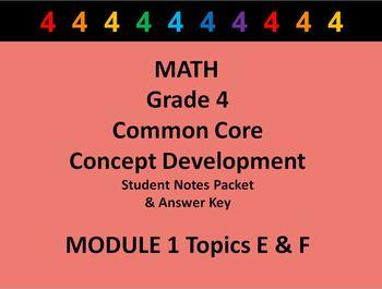 Grade 4 Math Common Core CCSS Student Lesson Pack Module 1 Topics E-F & Ans Key