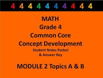 Grade 4 Math Common Core CCSS Student Lesson Pack Module 2 Topics A-B & Ans Key