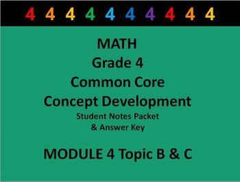 Grade 4 Math Common Core CCSS Student Lesson Pack Module 4 Topics B-C & Ans Key