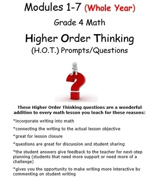 Grade 4 Math ENTIRE YEAR-Higher Order Thinking Questions/Writing Prompts Bundle!