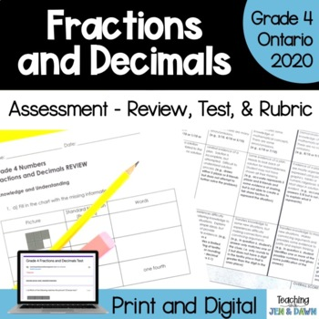 Grade 4 Math Fractions Review, Test, Rubric