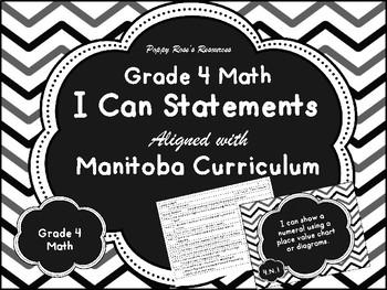 Grade 4 Math I Can Statements Manitoba Curriculum