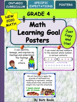 Grade 4 Math Learning Goals Posters - 89 pages