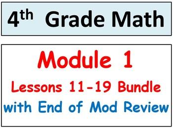 Grade 4 Math Module 1, Lessons 11-19 Bundle! Smart Bd-Stud Pgs-HOT Q's-Reviews!
