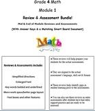 Grade 4, Math Module 1 REVIEW & ASSESSMENT w/Ans keys (printables & Smart Board)
