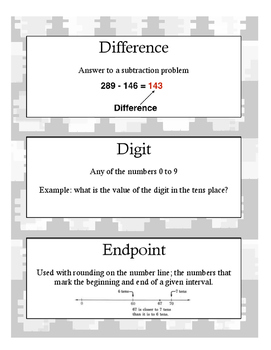 Grade 4 Math Module 1 Vocabulary Cards