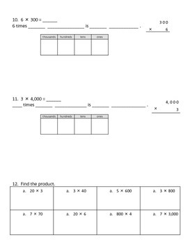 Grade 4 Math Module 3 Topic B Review:  Multiplication by 10, 100, and 1,000