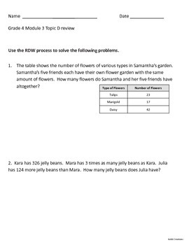 Grade 4 Math Module 3 Topic D Review:  Multiplication Word Problems