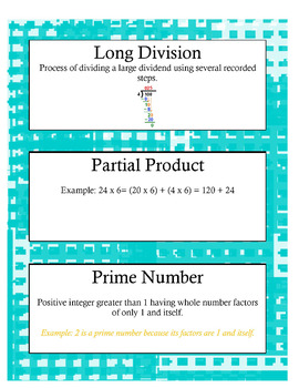 Grade 4 Math Module 3 Vocabulary Cards