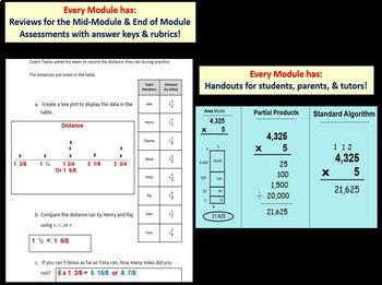 Grade 4 Math Module 5, Lessons 31-41 & End Mod Rev/Assess Bundle! Smart/Stud pgs