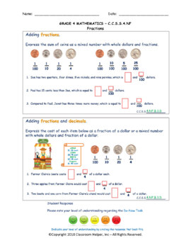 Grade 4 Math - Numbers and Operations with Fractions (Do Now Worksheets)