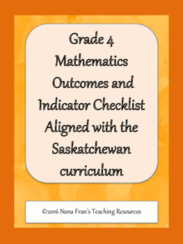 Grade 4 Math Outcome Indicators Checklist