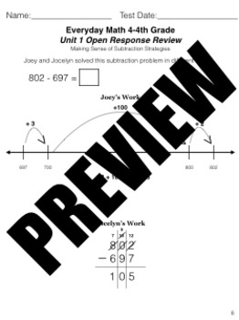 Grade 4 Math Review Bundle Adapted from Unit 1 New Everyday Math 4