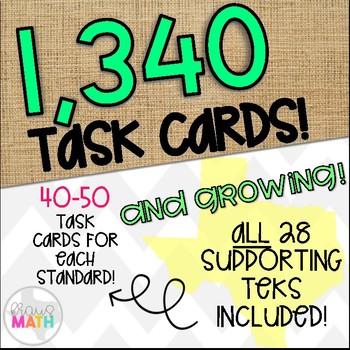 Grade 4 Math STAAR Test Prep Task Cards SUPPPORTING TEKS Bundle!