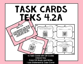 Grade 4 Math TEKS Place Value Task Cards with QR Codes {4.2A}