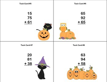 Grade 4 Math Task Cards-2 Digits With 3 Numbers Column Addition-Halloween