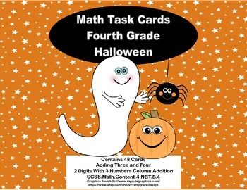 2 Digits With 3 Numbers Column Addition-Halloween-Grade 4- Math Task Cards