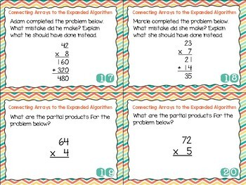 Grade 4 Math Task Cards- Arrays and Expanded Algorithm; CCSS 4.NBT.B.5