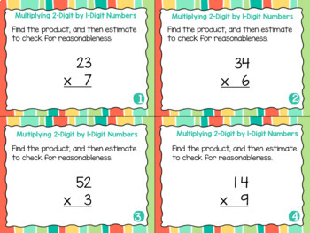 Grade 4 Math Task Cards- Multiplying 1-Digit by 2-Digit Numbers; CCSS 4.NBT.B.5