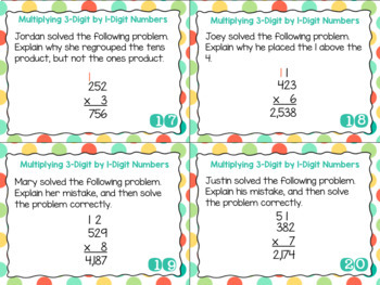 Grade 4 Math Task Cards- Multiplying 1-Digit by 3-Digit Numbers; CCSS 4.NBT.B.5