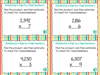 Grade 4 Math Task Cards- Multiplying 1-Digit by 4-Digit Numbers; CCSS 4.NBT.B.5