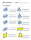 Grade 4: Geometry: Shapes, Angles, Symmetry, Congruent Shapes
