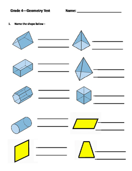 Grade 4 Math Test - Shapes, Angles, Symmetry, Congruent Sh
