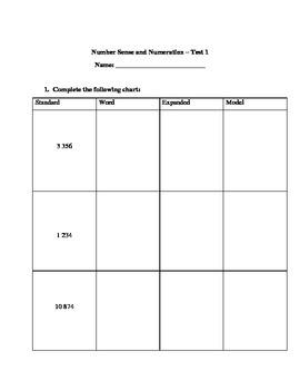 Grade 4 Math Test: Standard, Expanded, Word, Model; Money;