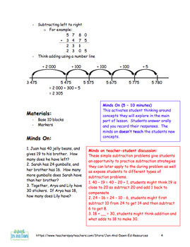 Grade 4 Math Three Part Lesson Subtracting 4-Digit Numbers