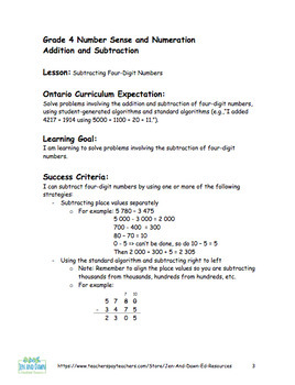 Addition and Subtraction - Subtract 4-Digit Numbers (Grade 4 Three Part Lesson)