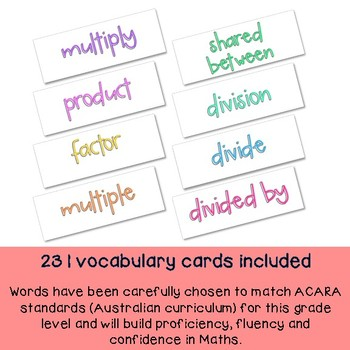 Grade 4 Math Vocabulary cards / Maths language / Australian curriculum aligned