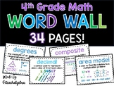 4th Grade 4 - Math Word Wall - 34 Pages and Growing!