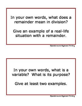 Grade 4 Math Writing Prompts