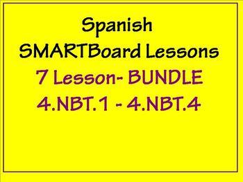 Grade 4 Math in Spanish - 4.NBT.1  - 4.NBT.2 - 4.NBT.3  - 4.NBT.4  BUNDLE